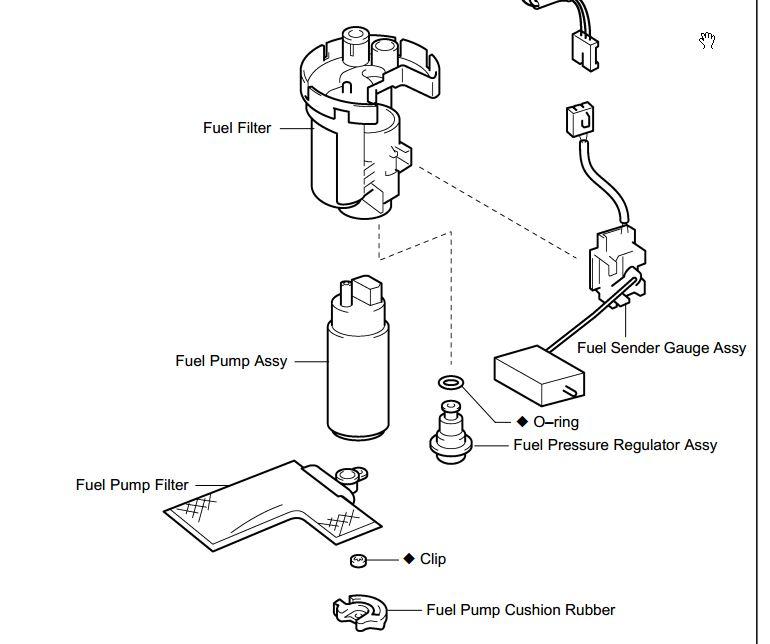 2005 corolla 1 4vvti fuel filter location