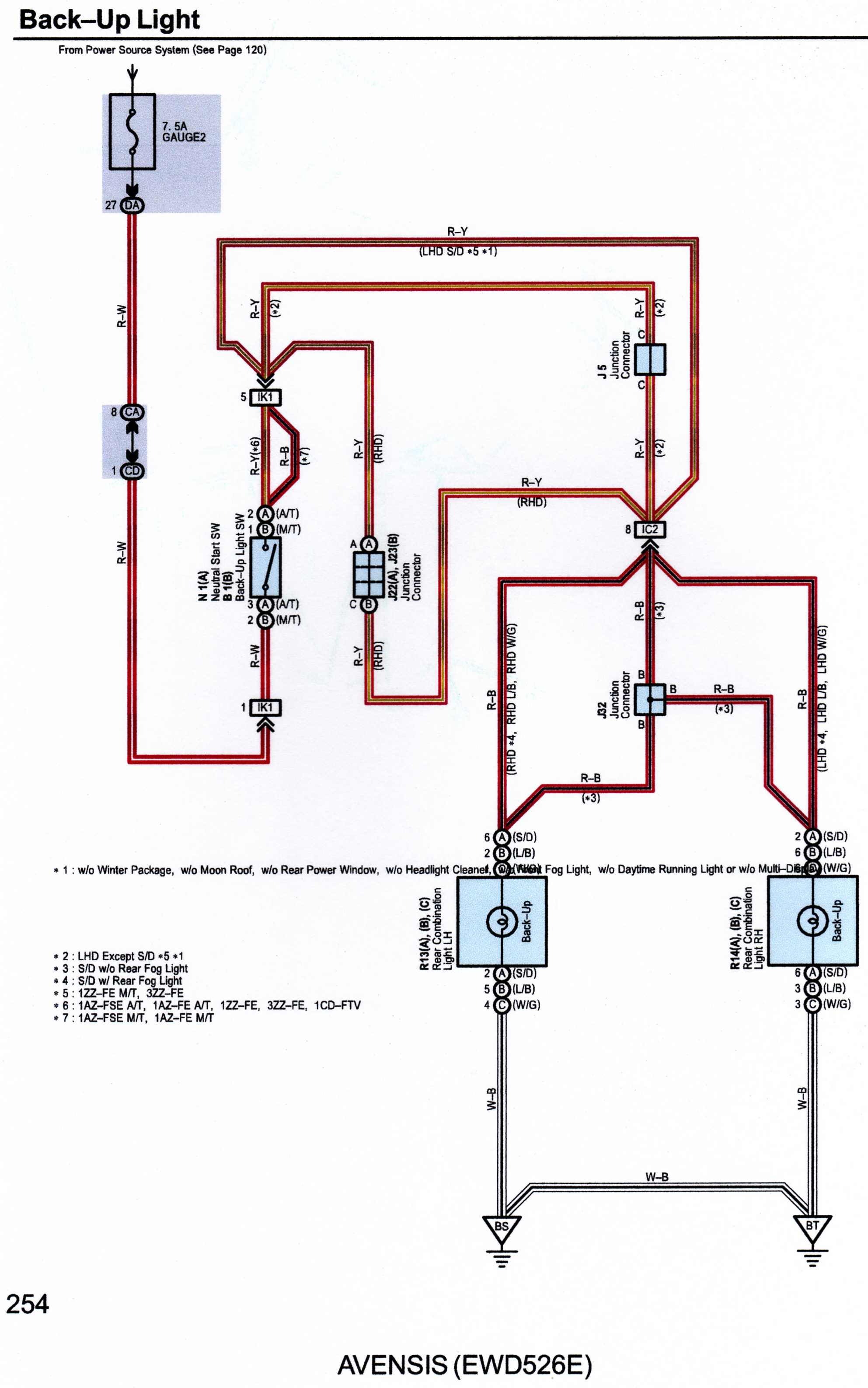 2004 Avensis Rear Lights Wiring Diagram